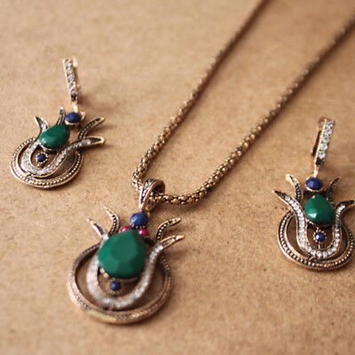 VINTAGE TURKISH JEWELRY Set Green Flower Pendant Colar Antique Necklace  Earrings