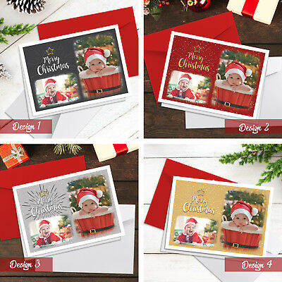 Personalised Christmas Cards | Pack Of A5 Folded Cards | With Photos + Envelopes