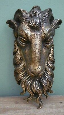 SUPERB 19thc ARCHITECTURAL GILT BRONZE  MOUNT FIXTURE OF A CURLY HORNED RAM
