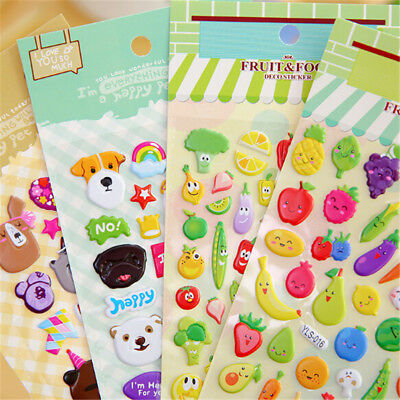 2sheets 3D Puffy Bubble Sticker Toys Children Car Animal Fruit Letter Stickers E