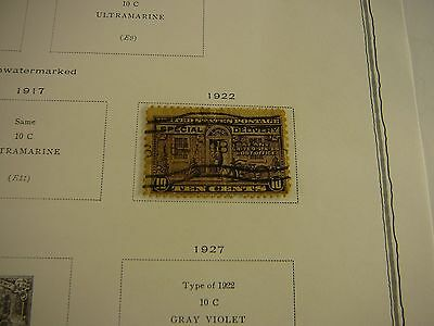 US Stamp  1922 Special Delivery  Scott Album Single Page