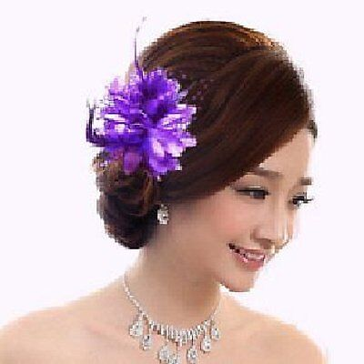 Buttonhole Rose Beads Flower Hair Clip Bands Brooch Feathers Light Purple C4