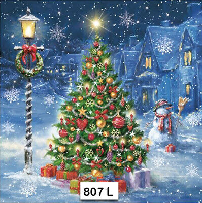 (807) TWO Individual Paper Luncheon Decoupage Napkins - CHRISTMAS TREE, NIGHT