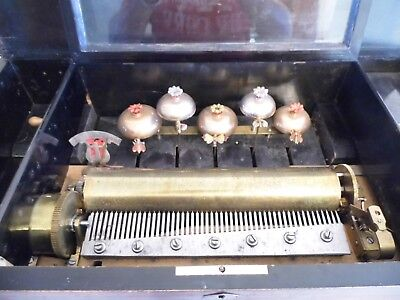 A Large Antique Swiss 12 Airs Cylinder Music Box With 6 Bells & Enamel Insects