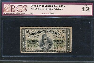 "1870 25 Cents Dominion of Canada ""Shinplaster"". BCS certified F12. DC-1c"