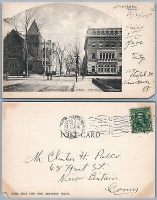 New Haven Ct Wall Street Undivided 1905 Antique Postcard