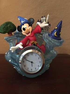 """Walt Disney World CLOCK """"Four Parks + One World"""" with Mickey & Icons from Parks"""