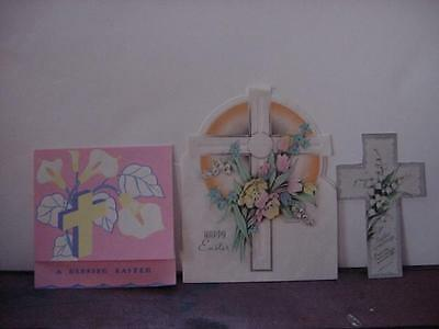 Vintage EASTER Religious Card Lot of 3: Crosses, Florals, 1 Parchment, 1 Shaped