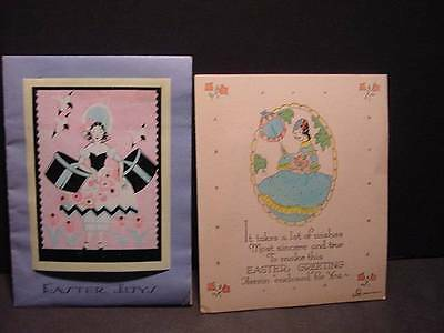 Lot of 2 Lovely Lady Folder EASTER Cards w/Women's Fashions From 1932 and 1933