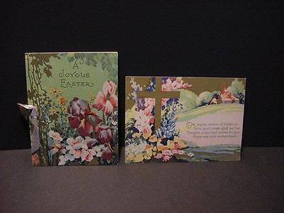 Vintage Lot of 2 Colorful Floral Unused EASTER Cards:1 Folder,1Flat w/Gold Deco