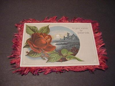 Victorian Double-Sided EASTER Card w/Red Silk Fringe:Nautical, Church Ruin,Roses