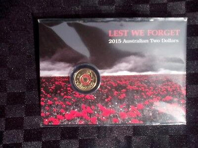 2015 $2 ANZAC Red Coin on RAM Card