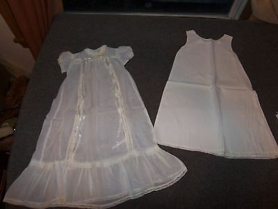 Vintage Christening Baptism Gown Sheer with Slip NB to 3 Mos ?