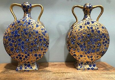 Pair Of Chinese Porcelain Blue & White Moon Flask Vases Gold Luster Antique?