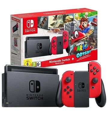 Nintendo Switch Console Super Mario Odyssey with Bundle - Red - In Stock!