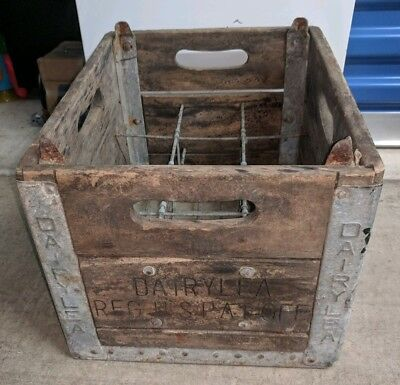 Vintage Old Dairylea Wooden Wood Milk Crate Box NY New York Dairymen's League