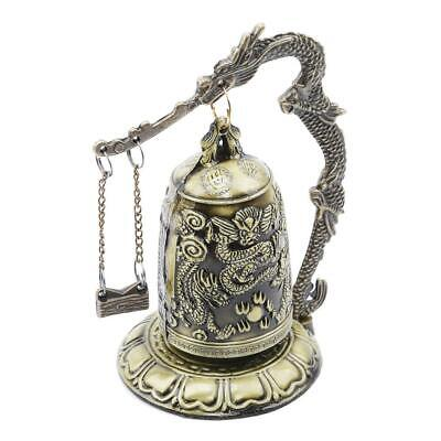 Retro Lock Dragon Carved Buddhist Bell Chinese Artware Exquisite Zinc Alloy LC