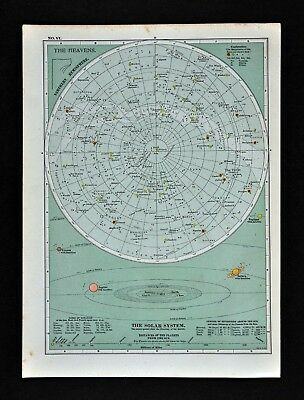 1902 Century Map North Sky Star Chart Planets Solar System Zodiac Constellations