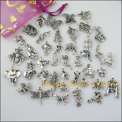 40 New Mixed Lots of Tibetan Silver Tone Animals Charms Pendants