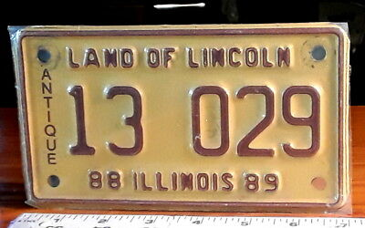 MOTORCYCLE LICENSE PLATE - ILLINOIS - 1988/89 ANIQUE Motorcycle issue, TOUGH