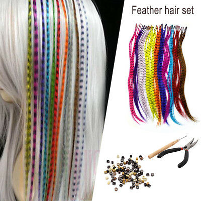 Hair Feathers+100 Beads +1 Plier + Hook Gift 35 Synthetic Feather Extension Kit