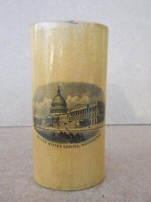 Rare Antique 1880's Washington Dc Smelling Salts Bottle & Wood Container