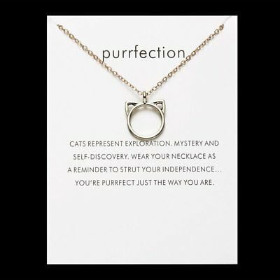 Purrfection Paper Card Animal Cat Women Pendant Choker Necklaces Chain Jewelry