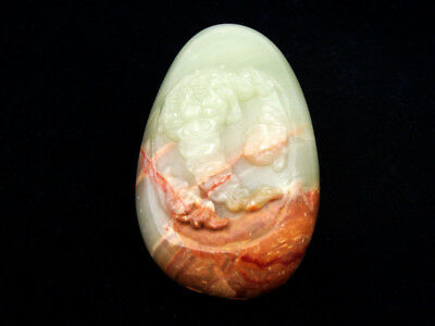 HeTian Jade Hand Carved LARGE Pendant Sculpture Money Toads Eat Coins #12181809