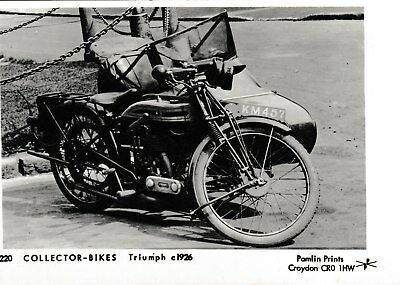 Triumph motorcycle, with sidecar, c1926 - post card