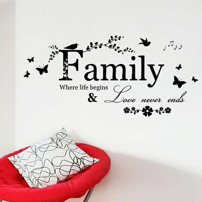 Family Butterfly Flower Art Vinyl Quote Wall Stickers Decals Home Room DIY Decor