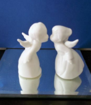 Vintage Christmas Angel Figure  a Pair of Kissing Angels White Porcelain Japan