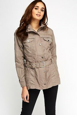 Ladies Womens Ruched Belted Hood Plus Size JACKET Size UK  18