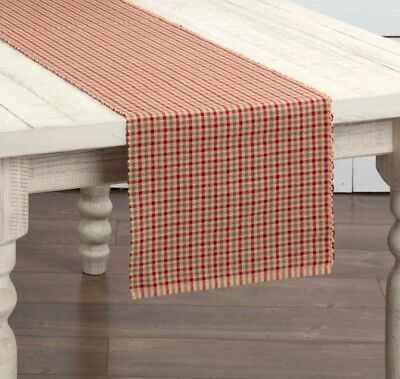 """New Primitive Country APPLE JACK Green Red Checked Plaid Table Runner 36"""""""