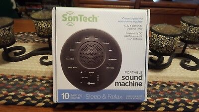 SonTech Portable Sound Machine White Sleep/Relax 10 Soothing Sounds Blocks Noise