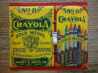 Vintage Crayola Crayons Tins Switch Plate Made From A Crayon Tin Childrens Room