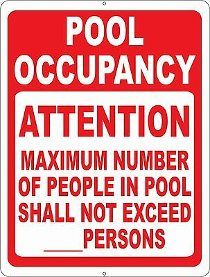 Pool Occupancy Attention Maximum Number People Sign. Size Options. Swim Safety