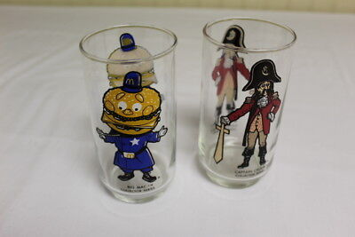 "Vintage 1970's MCDONALD's 6"" GLASSES ""CAPTAIN CROOK"" & ""Big Mac"""
