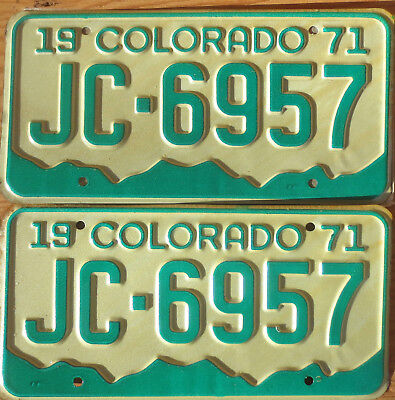 1971 Colorado License Plate Number Tag PAIR Plates