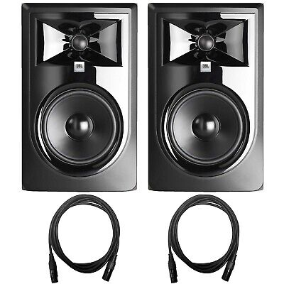 """JBL 306P MkII 6.5"""" Active Powered Studio Recording Monitor Speakers Pair w Cable"""