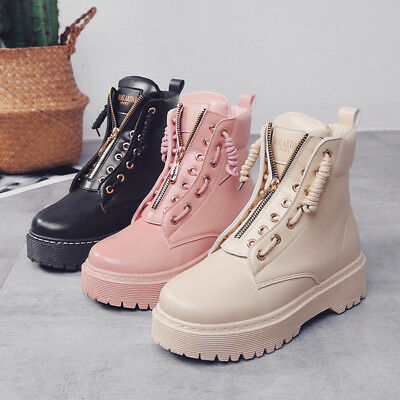 7913f350d34 New Women Ladies Zip Creepers Chunky Cleated Platform Goth Punk Ankle Boot  Shoes