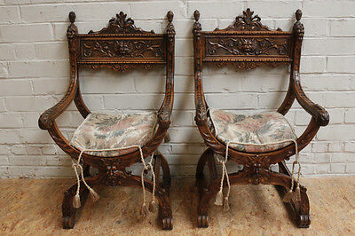 Pair of Antique French Carved Renaissance Dagobert Arm Chairs