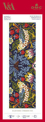 ***new! Dmc V&a Strawberry Thief William Morris Bookmark Cross Stitch Kit ***