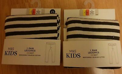 2 x girls/neutral 8-9 responsibly sourced cotton GREY & WHITE leggings M&S BNWT