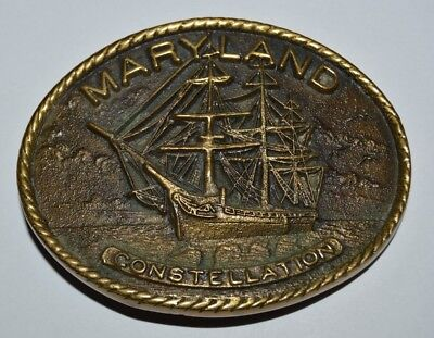 Vintage 1979 MARYLAND Constellation Ship Nautical Brass Belt Buckle RARE MINT