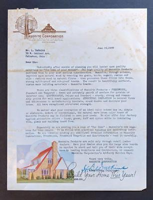 OLD 1939 ADVERTISEMENT LETTER from MASONITE CORPORATION Chicago IL, ARCHITECTURE