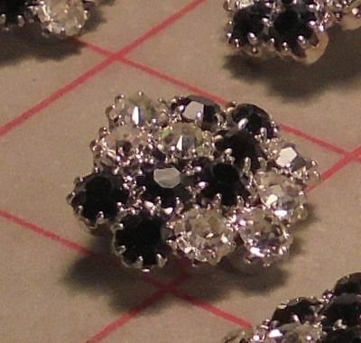 """2 vintage gold metal Czech shank buttons covered w// clear rhinestones 1.25/"""" 1004"""
