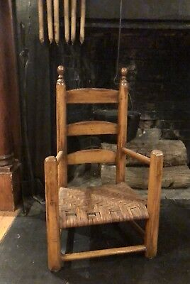 Antique Primitive Hearthside Child Size Ladder Back Chair