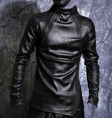 Mens Pu Leather Slim Long Sleeve Pullover Shirts Punk Thicken Warm Tops Coat