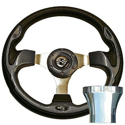 Club Car Precedent 2004-Up Golf Cart Carbon Fiber Steering Wheel Chrome Kit