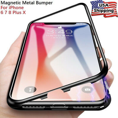 Magnetic Adsorption Metal For iPhone XS MAX/XR Tempered Glass Hard Bumper Cover